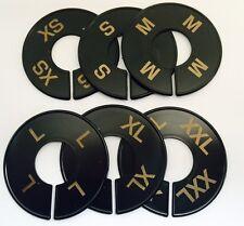 Round Black Size Ring Dividers Gold Print Xs-Xxl (2 Pcs Per Size) 12 Pcs Total