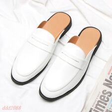mens slip on flats slippers loafers closed toe mules casual shoes Patent Leather
