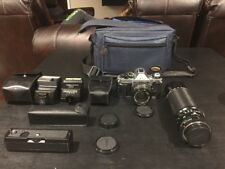 Canon AE-1 Program 35mm Film Camera w/50mm & 100-300mm Lens Lot + Bonus