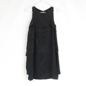 Charcoal gray 100% silk VENA CAVA tiered sleeveless dress 4