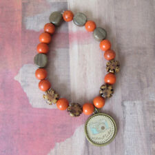 Photography, Camera Charm Beaded Bracelet, Orange Howlite & Wood Flower Beads