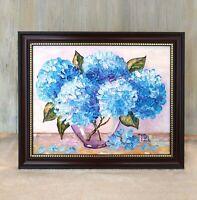 Blue Hydrangeas Original Impasto oil painting Framed Floral still life #04-223