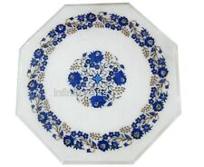 18 Inches End Table Top White Coffee Table Marquetry Art with Lapis Lazuli Stone