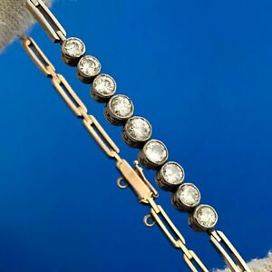 "Vintage 14k Yellow Gold Round Cut Diamond Rectangle Link 8"" Tennis Bracelet"
