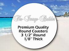"100 Blank White 3 1/2"" Round Coastersx1/8"" Thick Sublimation Heat Trans Round100"
