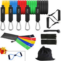 Resistance Band Sets Yoga Pilates Abs Exercise Fitness Tube Workout Bands 18PCS