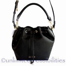 CALVIN KLEIN Scarlett Bucket New Crossbody Hand Shoulder Bag  Black Leather Tags