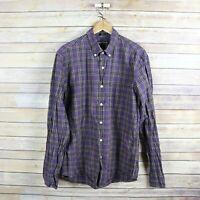 J.CREW Men's Slim Flex Long Sleeve Button Front Shirt L Large Purple Blue Plaid