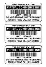 1000 2x1 Custom Mat Silver metalized POLYESTER Barcode asset tags Stickers Label