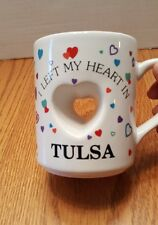 I Left My Heart in Tulsa Oklahoma vtg coffee mug Papel Japan 80s travel souvenir