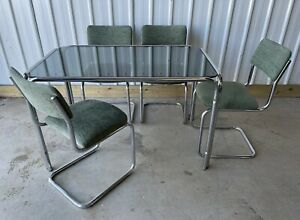 VINTAGE GLASS & CHROME DINING TABLE & 4 CANTILEVER CHAIRS SEATS FREE DELIVERY