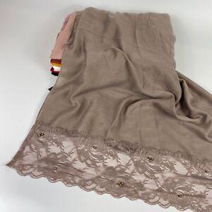 Plain Lace Sparkle Scarf Hijab Sarong Large Cotton Maxi Shawl Wrap Maxi