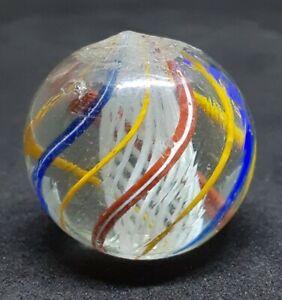 "German Handmade White latticinio Core Marble M- 1"""