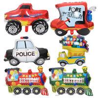 Birthday Foil Balloon Engineering Truck Police Car Children Birthday Party Decor