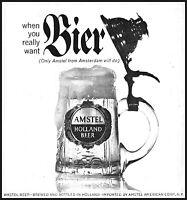 1963 Amstel Holland Beer Bier stein mug glass vintage photo Print Ad ads25