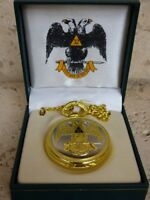 Masonic 32nd Degree Square and Compasses Pocket Watch Chain Vintage Mason Watch