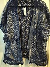 Jessica Simpson JEANS WEAR L NAVY Blue DIAMOND Lace MARJORIE Kimono brand new