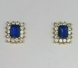 Genuine 14ct Yellow Gold Sapphire & Diamond Simulant Cluster Earrings