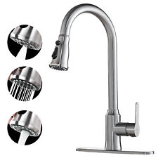 Kitchen Faucet Brushed Nickel Sink Tap Single Handle Pull Down Sprayer Sweep NEW