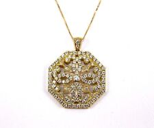 Fione Round Cluster Diamond Lady's Fashion Pendant 14K Yellow Gold 1.58Ct