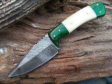 BEAUTIFUL HAND MADE DAMASCUS STEEL HUNTING KNIFE,DAGGER BOWIE,BONE & GREEN WOOD
