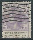 1924 REGNO USATO PARASTATALI UFFICIO NAZIONALE COLLOC DISOCCUP 50 CENT - M41-9