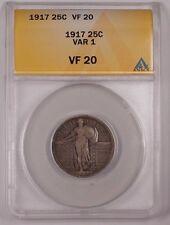 1917 Standing Liberty Quarter 25c Silver Coin Var 1 ANACS VF-20 A (1)