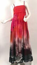 Rinascimento Women's Long Maxi Dress Laser Print Red-Black Empire Waist Size S/M