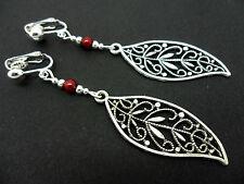 Una COPPIA DI Tibetan silver rosso perline lunghe foglie con temi clip SU ORECCHINI. nuovi.