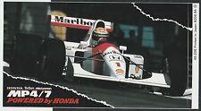 McLAREN HONDA MP4 7 AYRTON SENNA 1992 ORIGINAL PERIOD STICKER AUTOCOLLANT ADESIV