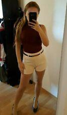 High Waist Shorts kurze Hose Hotpants mit Gürtel, rosa, Gr. M 36