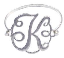 Monogram Style English Alphabet Letter Initial K Bangle Bracelet Women Jewelry