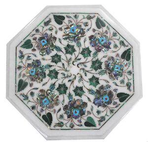 "12"" Marble Table top Semi Precious Stones floral inlay home room decor"