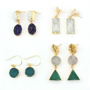 Sale ! Multi Design Natural Colorful Agate Druzy Gold Plated Stud Earrings 4 Pcs