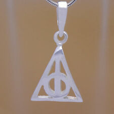 Solid 925 Sterling Silver Harry Potter Deathly Hallows Hogwarts Triangle Pendant
