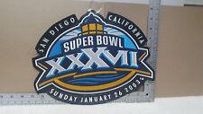 """NFL SUPER BOWL XXXVII FOOTBALL LARGE TEAM JACKET PATCH / 12"""" X 9 1/2"""" /  #8"""