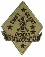 USMC FIRST I 1ST RECON BN BATTALION PATCH SWIFT SILENT DEADLY MARINE CORPS TAN