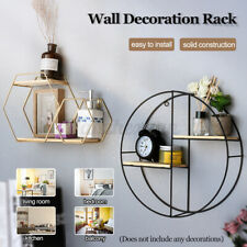 Black Wire Metal 3 Tier Round Oval Floating Wall Hanging Shelf Display