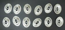 Lot of 12 Conchos Metal Silver color Stamped Fluted Design Costuming Theatrical