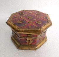 Vintage Old Hand Carved Unique shape Brass Work Wooden Box