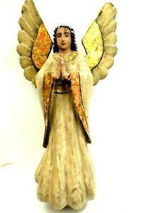 Spanish Colonial Hand Carved Polychrome Wood Santos Of Angelic Form