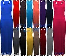 Womens Racer Back Vest Maxi Dresses Ladies Plain Full Length Dress Summer Beach