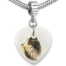 Keeshond Dog Heart Dangle Mother Of Pearl European Bracelet Charm Bead EBS241