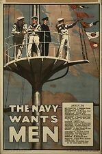British Royal Navy Recruiting Poster 1915 World War 1 7x5 Inch Repro Art Print
