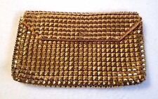 """Vintage Mesh Purse Gold Clutch Snap Closure Satin Lined Small 3.5"""" x 5.75"""""""