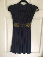 Sky Brand Navy blue Gold Leather Chain Belt Dress Empire Waist V-Neck Size S