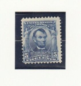 USA Stamps 1903 Scott # 304 Lincoln 5 Cent Mint Blue Hinged