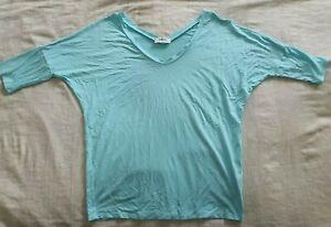 MELA PURDIE V-Neck 3/4 Drop Shoulder Top in Sky Blue XS/8 Signature Matte Jersey