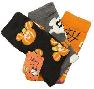 New Disney Ladies 3 Pair HALLOWEEN Socks MICKEY MOUSE PUMPKINS, GHOSTS