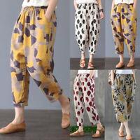 Women Elastic Waist Long Pants Floral Print Harem Pants Wide Legs Trousers Plus